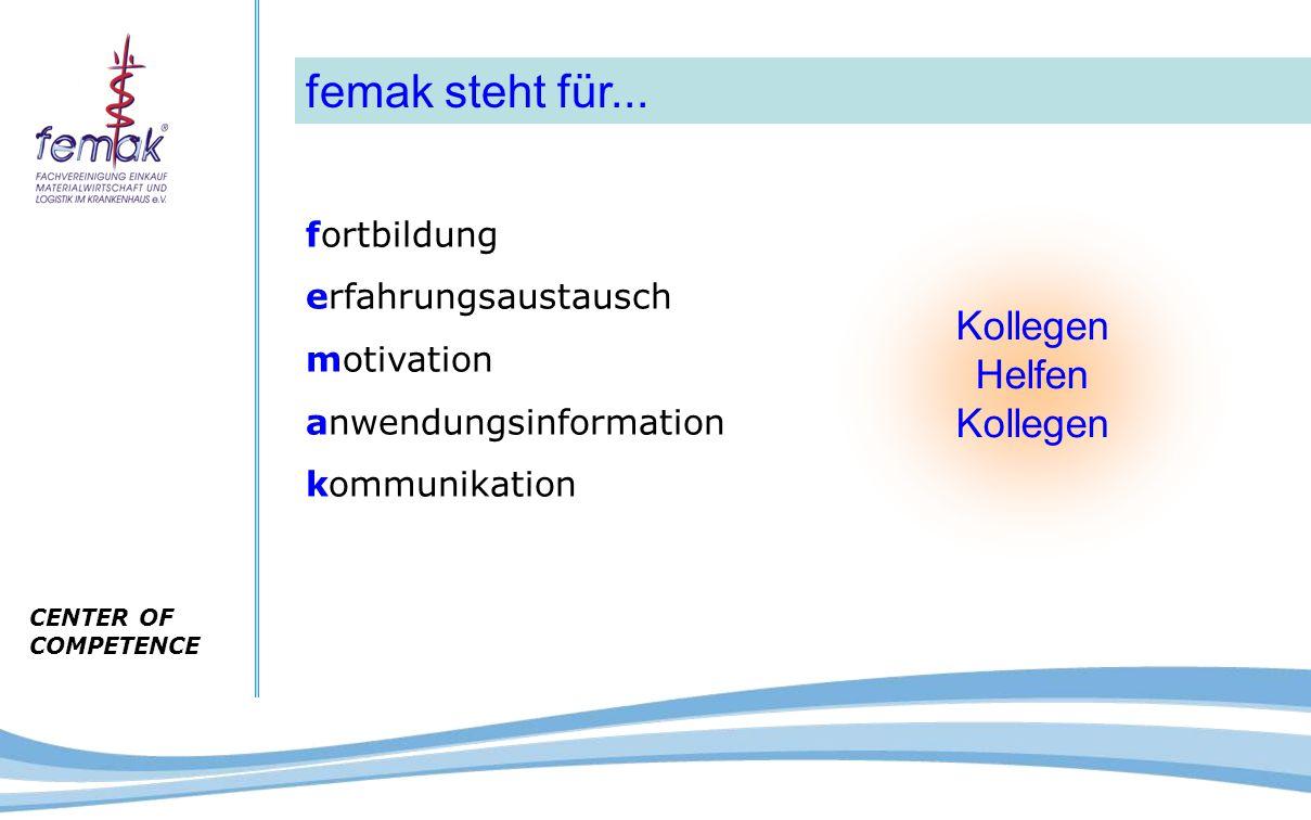 CENTER OF COMPETENCE fortbildung erfahrungsaustausch motivation anwendungsinformation kommunikation femak steht für... Kollegen Helfen Kollegen