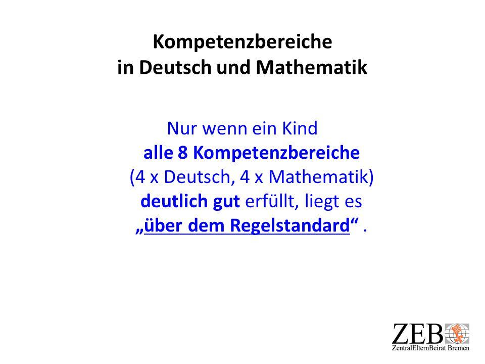 """Kompetenzbereiche in Deutsch und Mathematik Nur wenn ein Kind alle 8 Kompetenzbereiche (4 x Deutsch, 4 x Mathematik) deutlich gut erfüllt, liegt es """"ü"""