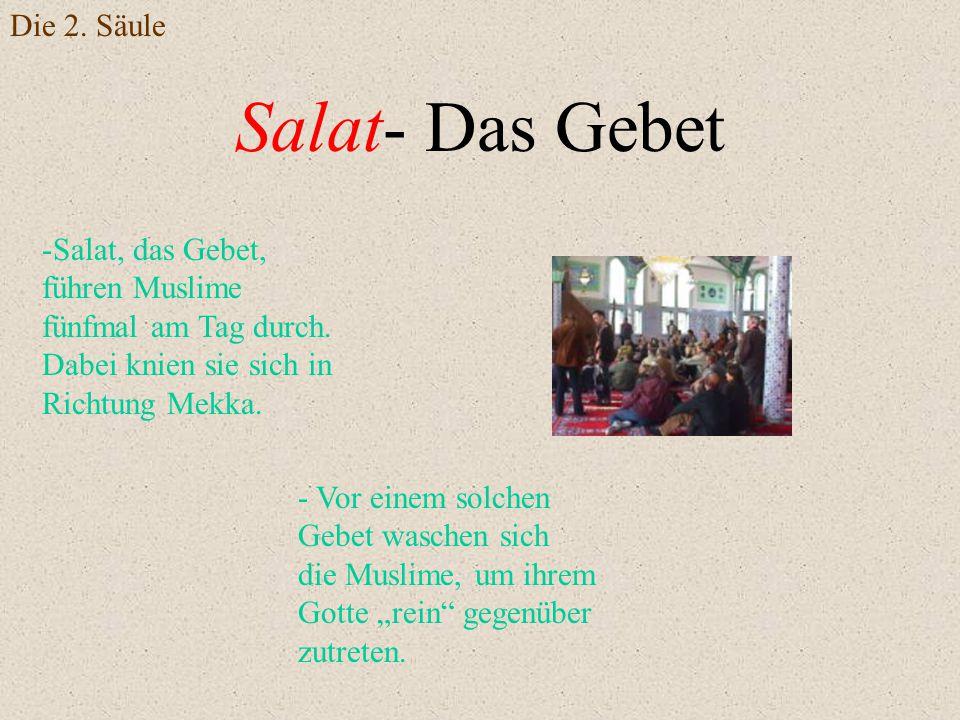 Salat- Das Gebet -Salat, das Gebet, führen Muslime fünfmal am Tag durch. Dabei knien sie sich in Richtung Mekka. - Vor einem solchen Gebet waschen sic
