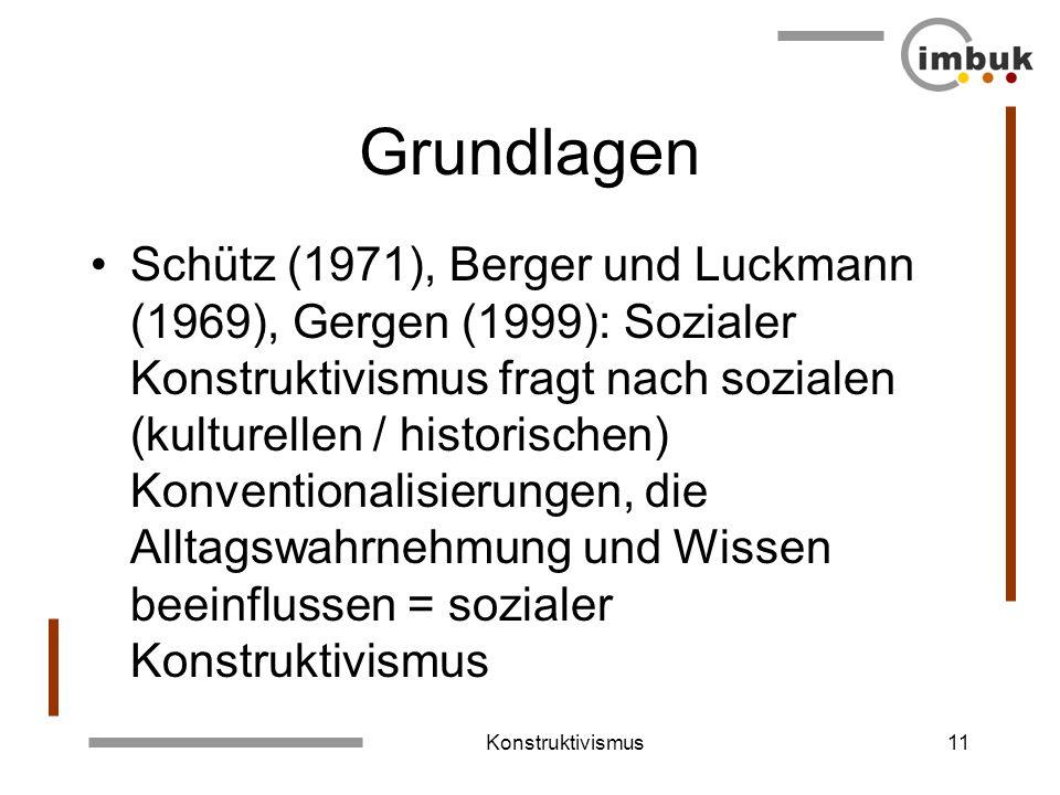 Konstruktivismus10 Grundlagen Jean Piaget (1937): Erkennen, Wissen und Wahrnehmen der Welt werden als Konstruktion verstanden. Schmidt (1987), Glasers