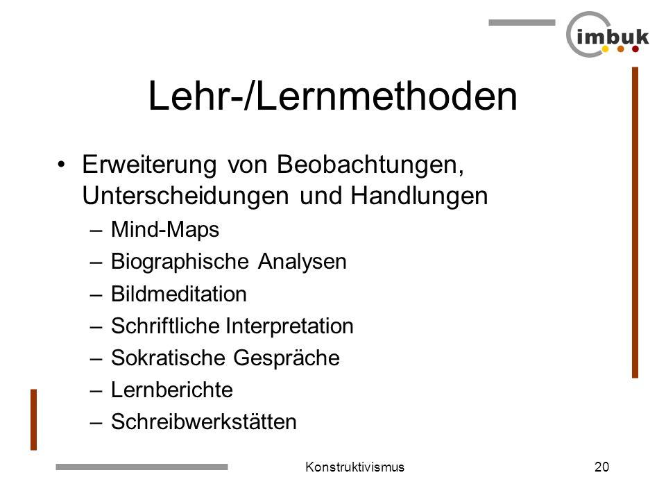 Konstruktivismus19 Didaktisches Design Gestaltung einer anregenden Lernumgebung Lernkultur Lernoffene Situationen Konstruktive Lernökologie