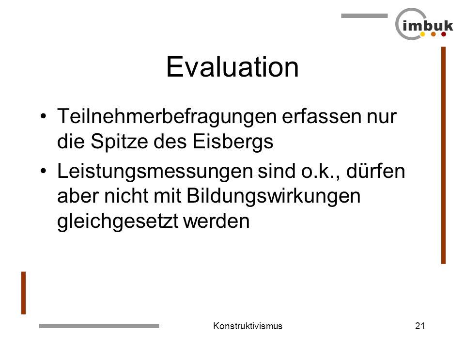 Konstruktivismus20 Lehr-/Lernmethoden Erweiterung von Beobachtungen, Unterscheidungen und Handlungen –Mind-Maps –Biographische Analysen –Bildmeditatio
