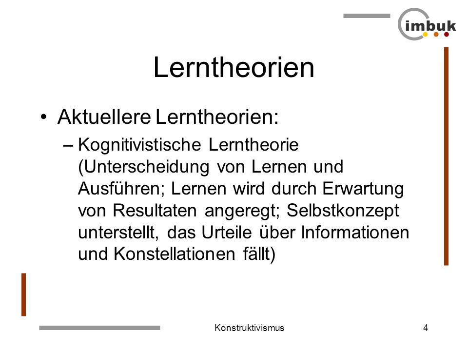 Konstruktivismus3 Lerntheorien Traditionelle Lerntheorie: –Behaviorismus (Stimulus-Response- Psychologie; Reiz – Verhalten; Bewusstsein und individuel
