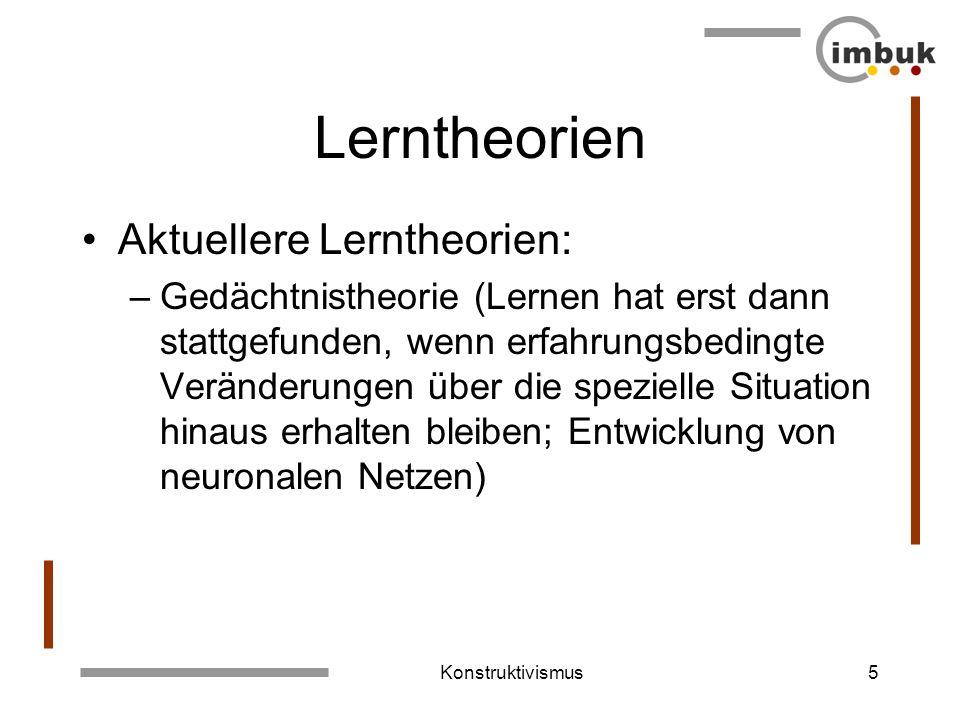 Konstruktivismus4 Lerntheorien Aktuellere Lerntheorien: –Kognitivistische Lerntheorie (Unterscheidung von Lernen und Ausführen; Lernen wird durch Erwa