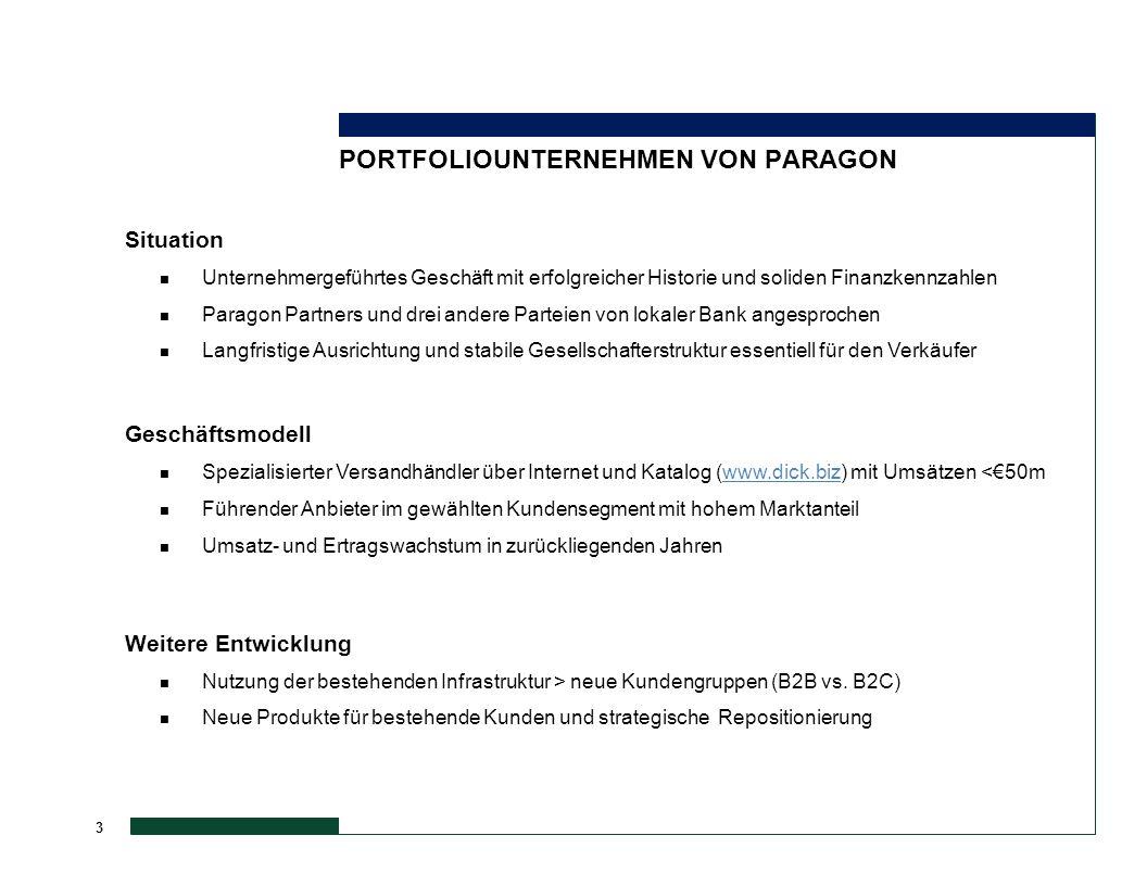 3 PORTFOLIOUNTERNEHMEN VON PARAGON Geschäftsmodell n Spezialisierter Versandhändler über Internet und Katalog (www.dick.biz) mit Umsätzen <€50mwww.dic