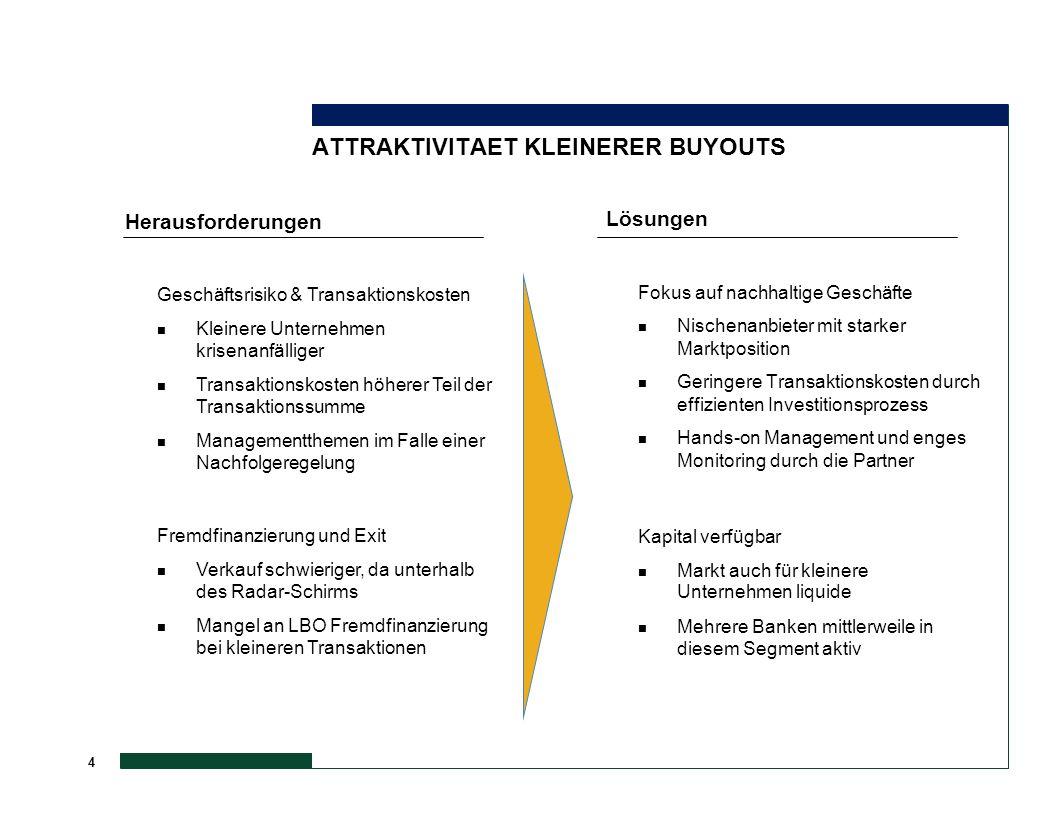 4 ATTRAKTIVITAET KLEINERER BUYOUTS Lösungen Fokus auf nachhaltige Geschäfte n Nischenanbieter mit starker Marktposition n Geringere Transaktionskosten