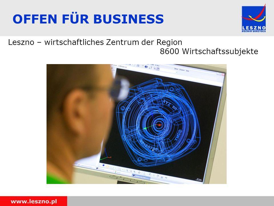 OFFEN FÜR BUSINESS Leszno – wirtschaftliches Zentrum der Region 8600 Wirtschaftssubjekte