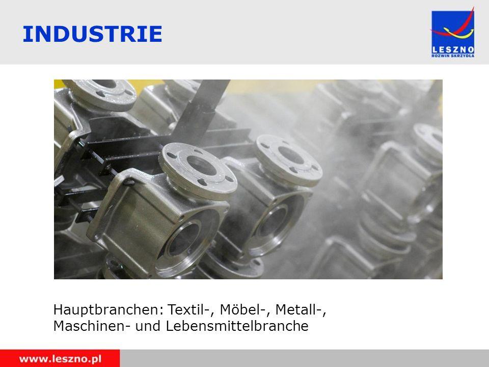 Hauptbranchen: Textil-, Möbel-, Metall-, Maschinen- und Lebensmittelbranche INDUSTRIE