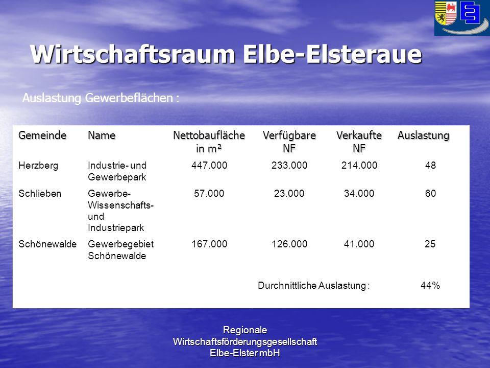Regionale Wirtschaftsförderungsgesellschaft Elbe-Elster mbH Wirtschaftsraum Elbe-Elsteraue GemeindeName Nettobaufläche in m² Verfügbare NF Verkaufte NF Auslastung HerzbergIndustrie- und Gewerbepark 447.000233.000214.00048 SchliebenGewerbe- Wissenschafts- und Industriepark 57.00023.00034.00060 SchönewaldeGewerbegebiet Schönewalde 167.000126.00041.00025 Durchnittliche Auslastung :44% Auslastung Gewerbeflächen :