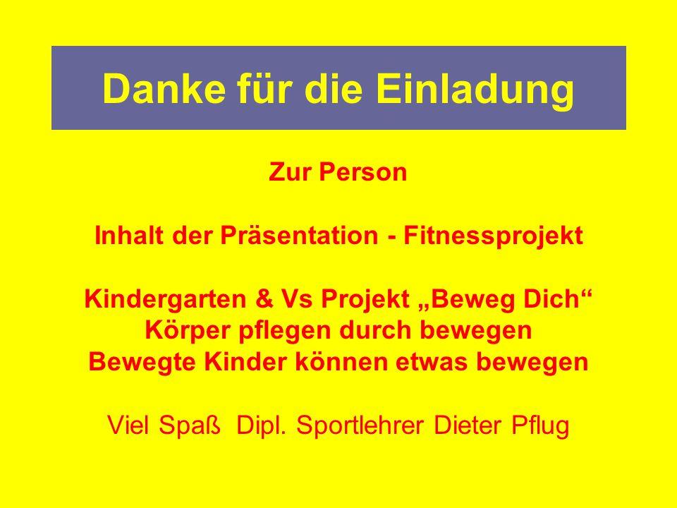 """Danke für die Einladung Zur Person Inhalt der Präsentation - Fitnessprojekt Kindergarten & Vs Projekt """"Beweg Dich"""" Körper pflegen durch bewegen Bewegt"""