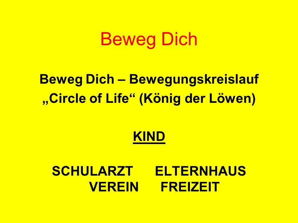 """Beweg Dich – Bewegungskreislauf """"Circle of Life"""" (König der Löwen) KIND SCHULARZT ELTERNHAUS VEREIN FREIZEIT Beweg Dich"""