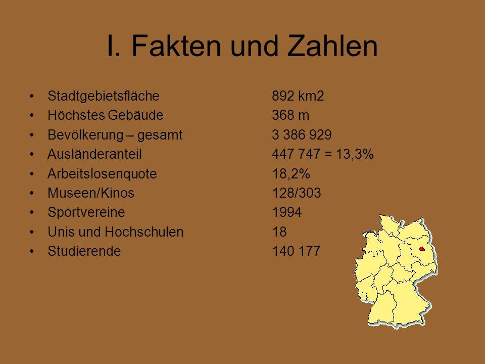 I. Fakten und Zahlen Stadtgebietsfläche892 km2 Höchstes Gebäude368 m Bevölkerung – gesamt3 386 929 Ausländeranteil447 747 = 13,3% Arbeitslosenquote18,
