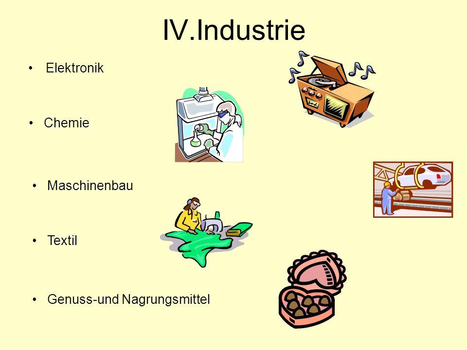 IV.Industrie Elektronik Chemie Maschinenbau Textil Genuss-und Nagrungsmittel
