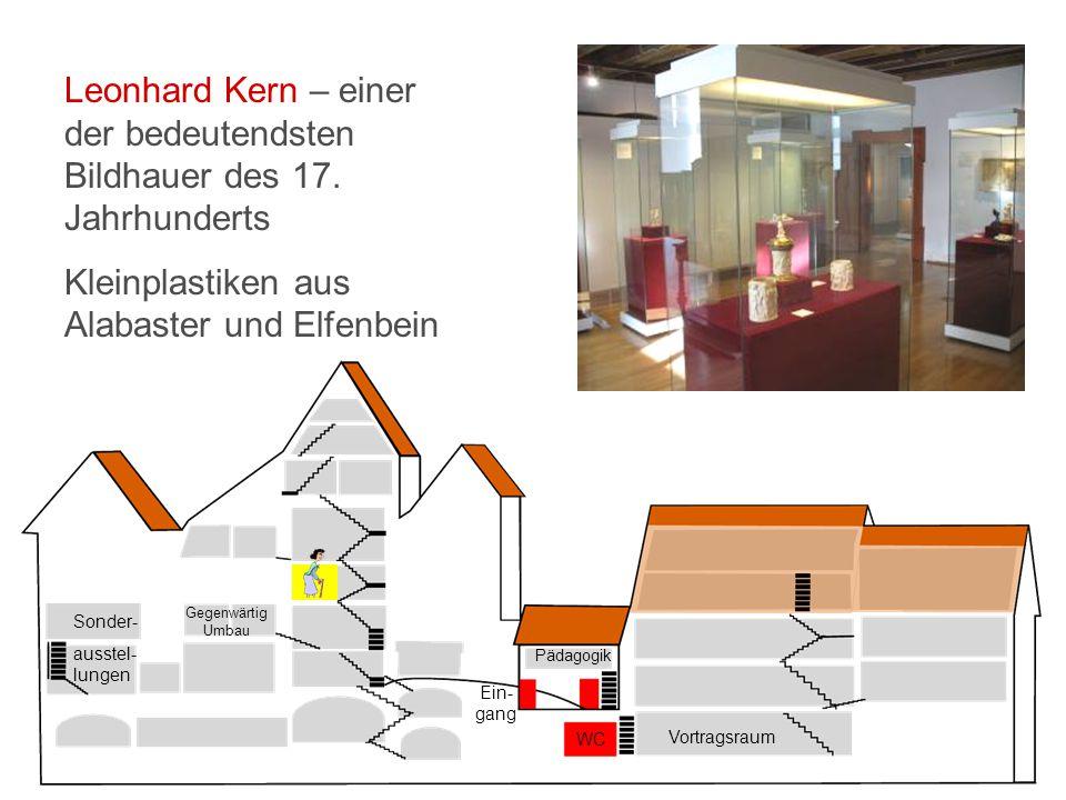 Vortragsraum WC Ein- gang Pädagogik Sonder- ausstel- lungen Gegenwärtig Umbau Leonhard Kern – einer der bedeutendsten Bildhauer des 17.
