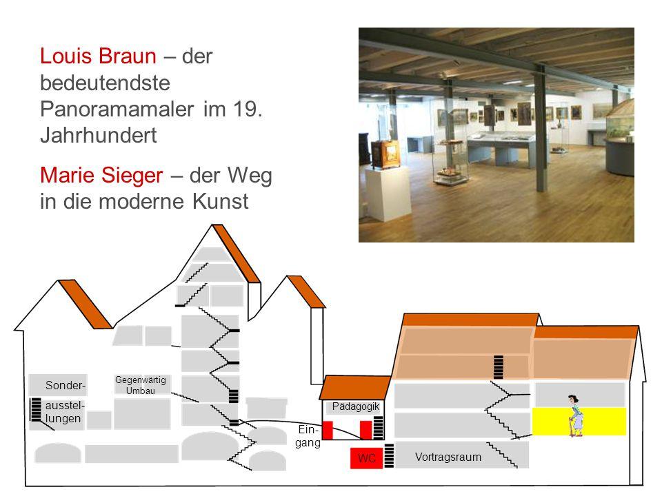 Vortragsraum WC Ein- gang Pädagogik Sonder- ausstel- lungen Gegenwärtig Umbau Louis Braun – der bedeutendste Panoramamaler im 19.