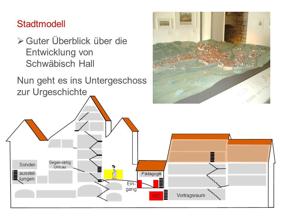 Vortragsraum WC Ein- gang Pädagogik Sonder- ausstel- lungen Gegenwärtig Umbau Stadtmodell  Guter Überblick über die Entwicklung von Schwäbisch Hall Nun geht es ins Untergeschoss zur Urgeschichte