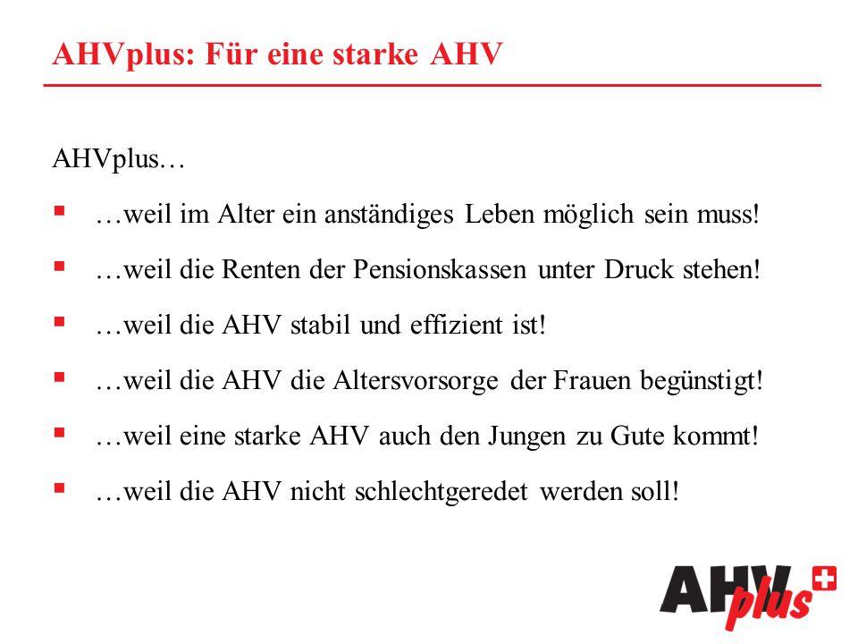 AHVplus: Für eine starke AHV AHVplus…  …weil im Alter ein anständiges Leben möglich sein muss!  …weil die Renten der Pensionskassen unter Druck steh