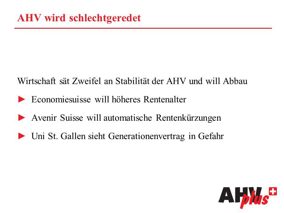 AHV wird schlechtgeredet Wirtschaft sät Zweifel an Stabilität der AHV und will Abbau ►Economiesuisse will höheres Rentenalter ►Avenir Suisse will auto