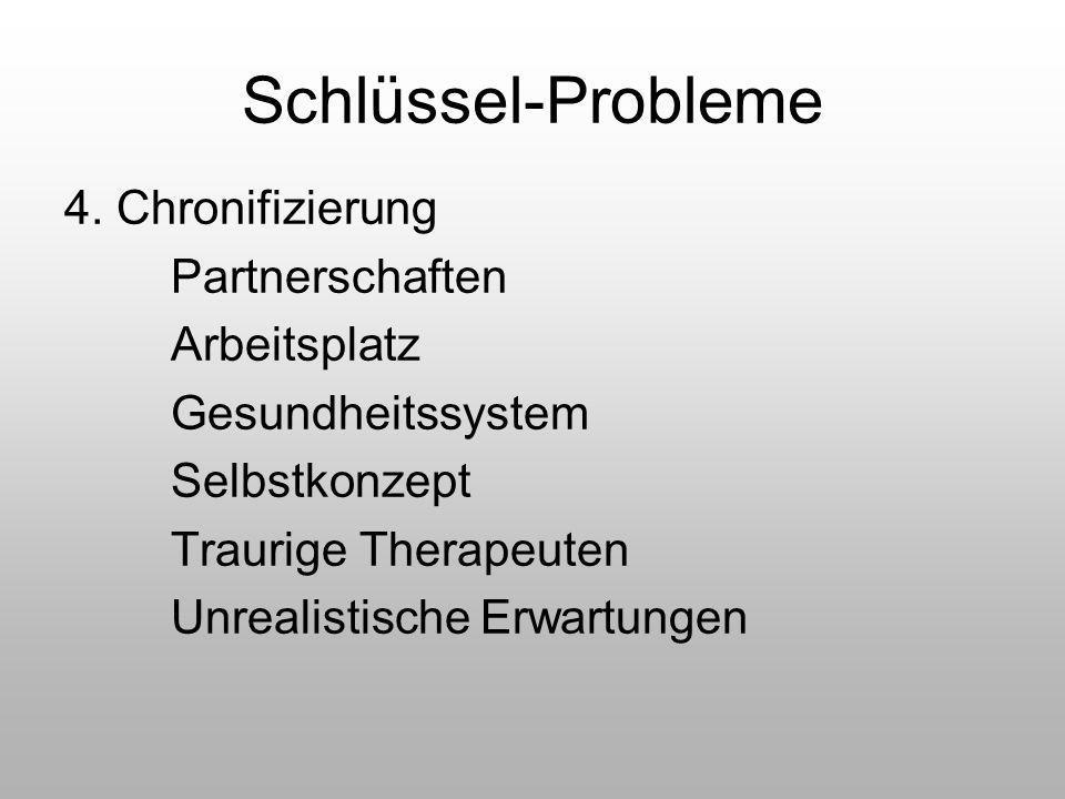 Schlüssel-Probleme 4. Chronifizierung Partnerschaften Arbeitsplatz Gesundheitssystem Selbstkonzept Traurige Therapeuten Unrealistische Erwartungen