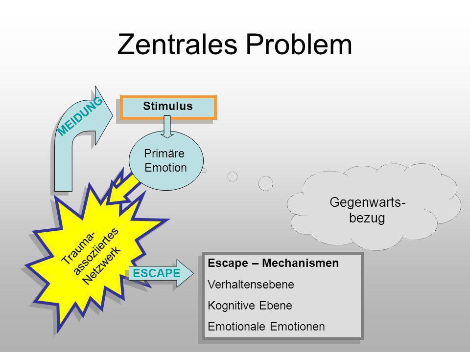 Zentrales Problem Stimulus Gegenwarts- bezug Primäre Emotion MEIDUNG ESCAPE Trauma- assoziiertes Netzwerk Escape – Mechanismen Verhaltensebene Kogniti