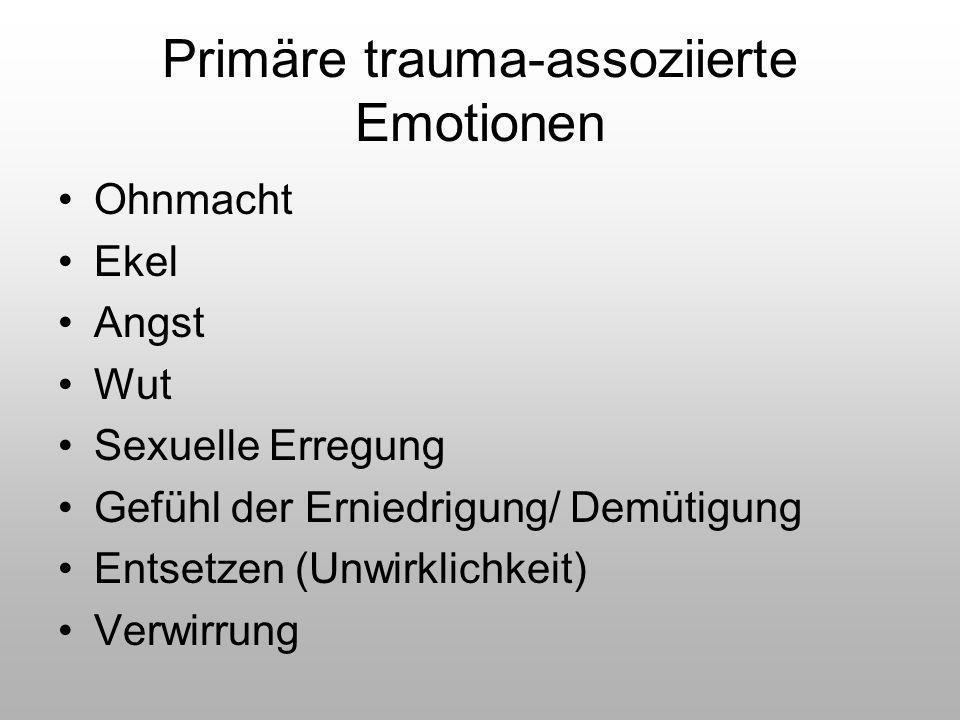 Primäre trauma-assoziierte Emotionen Ohnmacht Ekel Angst Wut Sexuelle Erregung Gefühl der Erniedrigung/ Demütigung Entsetzen (Unwirklichkeit) Verwirru