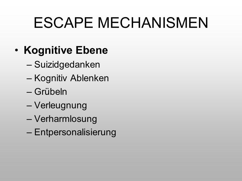 ESCAPE MECHANISMEN Kognitive Ebene –Suizidgedanken –Kognitiv Ablenken –Grübeln –Verleugnung –Verharmlosung –Entpersonalisierung