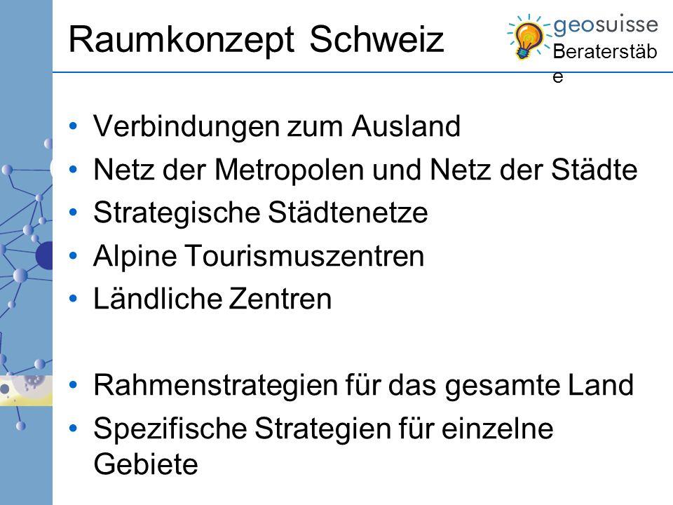 Beraterstäb e Raumkonzept Schweiz Verbindungen zum Ausland Netz der Metropolen und Netz der Städte Strategische Städtenetze Alpine Tourismuszentren Lä