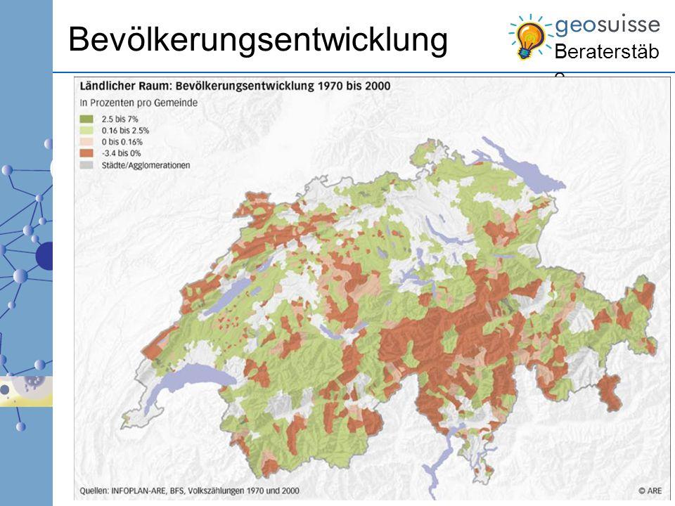 Beraterstäb e 3 Raumtypen Periurbaner ländlicher Raum –Im Einzugsgebiet von Agglomerationen und Einzelstädten –Periurbane ländliche Zentren –Entwicklung geht weiter Alpine Tourismuszentren –Min.