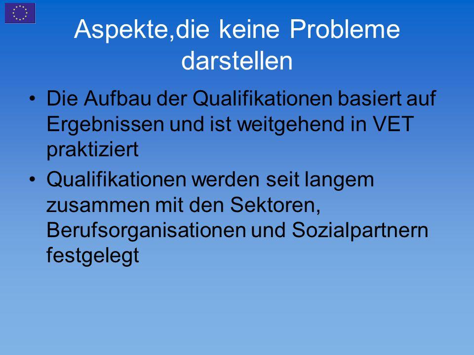 Aspekte,die keine Probleme darstellen Die Aufbau der Qualifikationen basiert auf Ergebnissen und ist weitgehend in VET praktiziert Qualifikationen wer