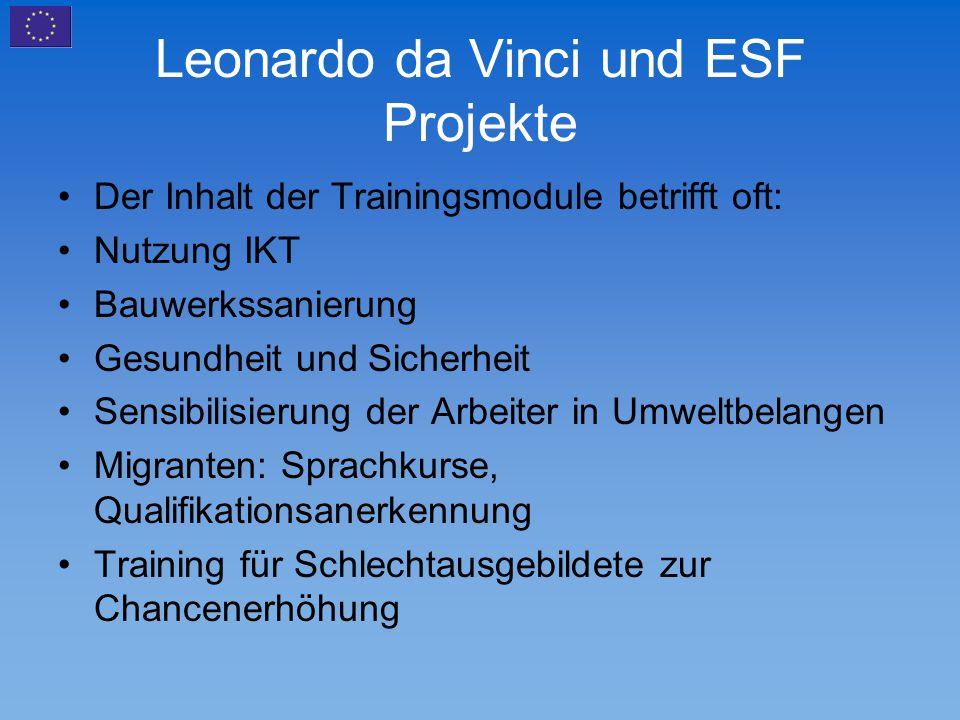 Leonardo da Vinci und ESF Projekte Der Inhalt der Trainingsmodule betrifft oft: Nutzung IKT Bauwerkssanierung Gesundheit und Sicherheit Sensibilisieru