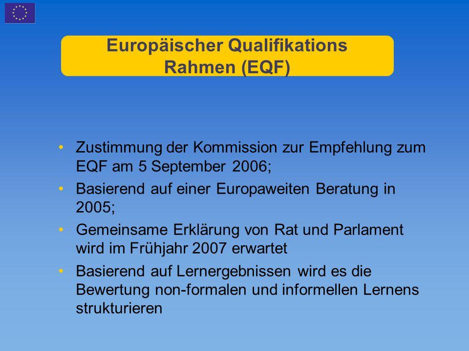 Europäischer Qualifikations Rahmen (EQF) Zustimmung der Kommission zur Empfehlung zum EQF am 5 September 2006; Basierend auf einer Europaweiten Beratu