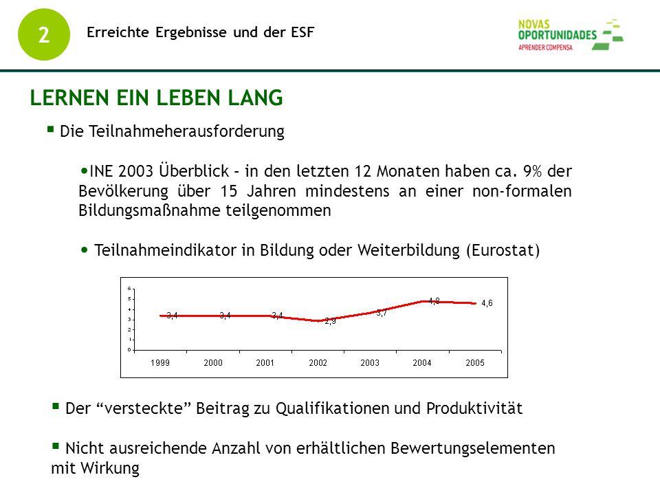 Erreichte Ergebnisse und der ESF 2 LERNEN EIN LEBEN LANG  Die Teilnahmeherausforderung INE 2003 Überblick – in den letzten 12 Monaten haben ca. 9% de