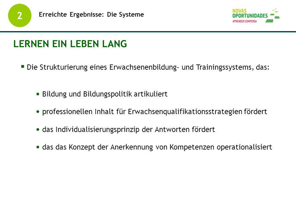 Erreichte Ergebnisse: Die Systeme 2 LERNEN EIN LEBEN LANG  Die Strukturierung eines Erwachsenenbildung- und Trainingssystems, das: Bildung und Bildun