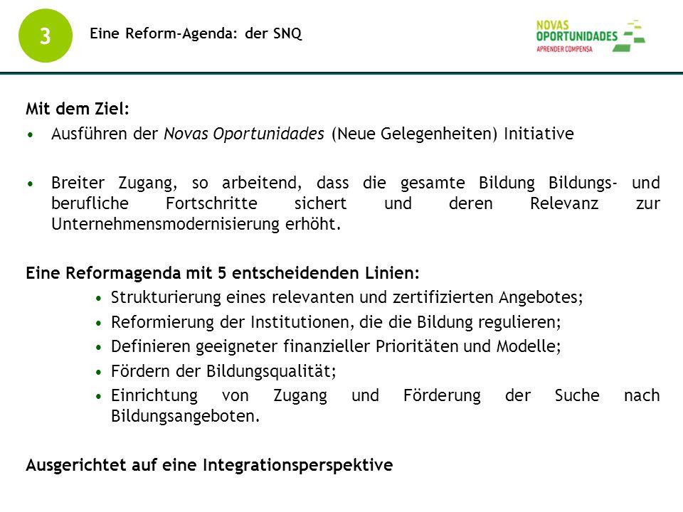 Eine Reform-Agenda: der SNQ 3 Mit dem Ziel: Ausführen der Novas Oportunidades (Neue Gelegenheiten) Initiative Breiter Zugang, so arbeitend, dass die g