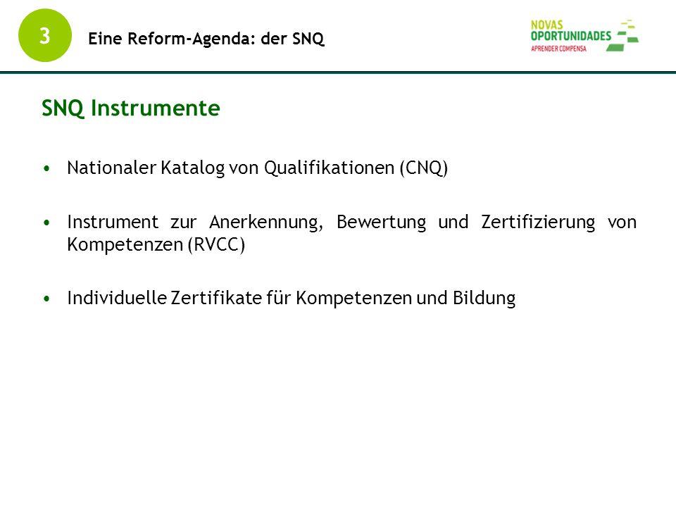Nationaler Katalog von Qualifikationen (CNQ) Instrument zur Anerkennung, Bewertung und Zertifizierung von Kompetenzen (RVCC) Individuelle Zertifikate
