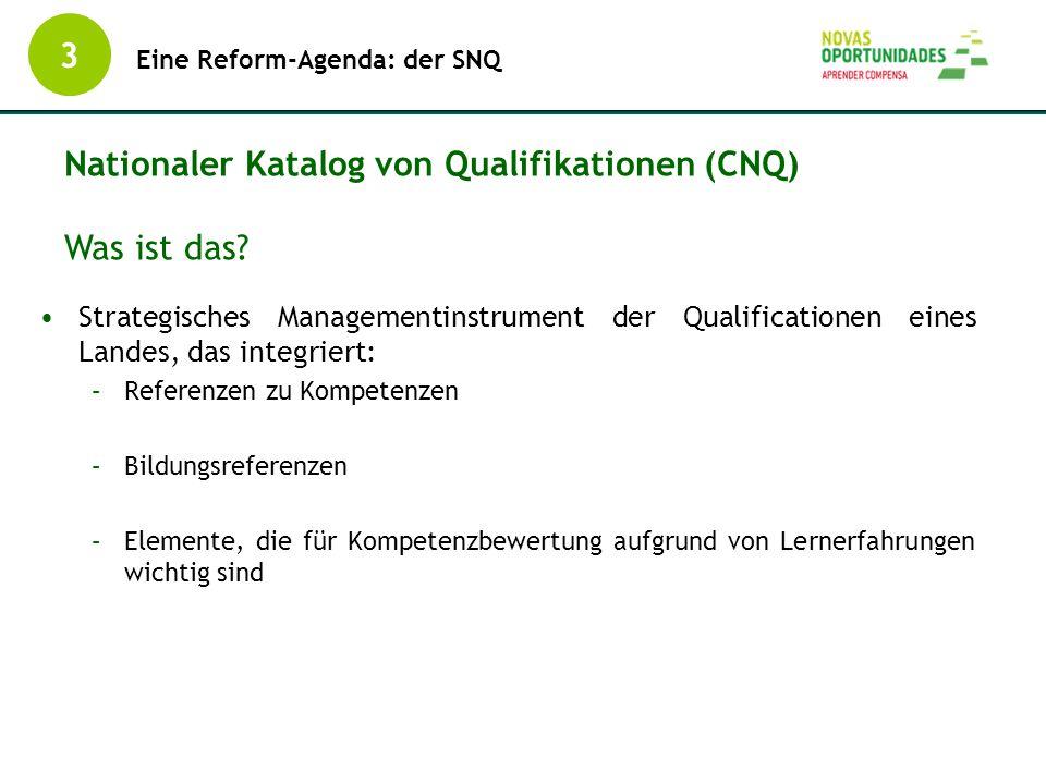 Strategisches Managementinstrument der Qualificationen eines Landes, das integriert: –Referenzen zu Kompetenzen –Bildungsreferenzen –Elemente, die für
