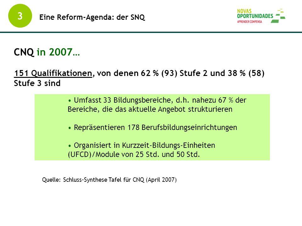 3 Eine Reform-Agenda: der SNQ CNQ in 2007… 151 Qualifikationen, von denen 62 % (93) Stufe 2 und 38 % (58) Stufe 3 sind Quelle: Schluss-Synthese Tafel