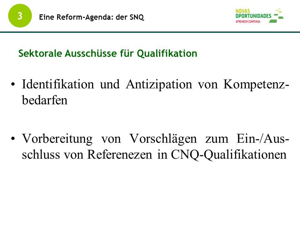 Identifikation und Antizipation von Kompetenz- bedarfen Vorbereitung von Vorschlägen zum Ein-/Aus- schluss von Referenezen in CNQ-Qualifikationen 3 Ei