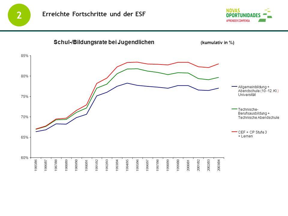 2 Erreichte Fortschritte und der ESF Schul-/Bildungsrate bei Jugendlichen (kumulativ in %) 60% 65% 70% 75% 80% 85% 1985/861986/871987/881988/891989/90