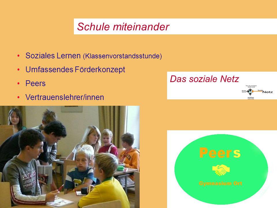 Schule miteinander Das soziale Netz Soziales Lernen (Klassenvorstandsstunde) Umfassendes Förderkonzept Peers Vertrauenslehrer/innen