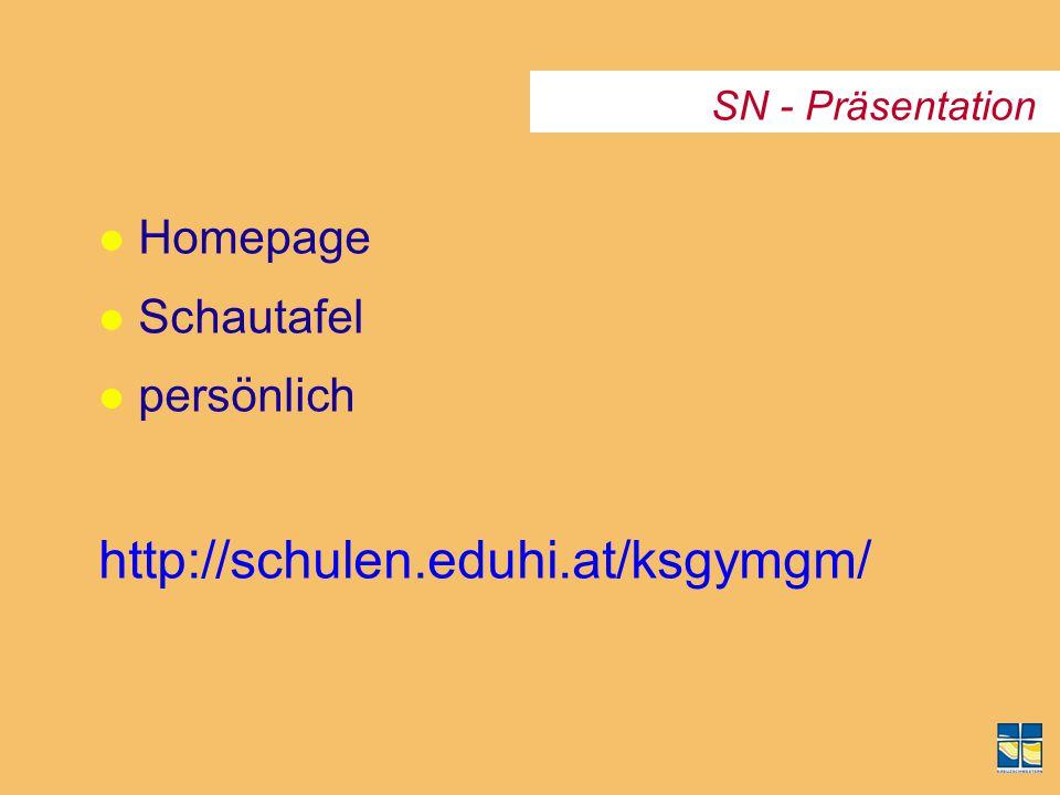 SN - Präsentation l Homepage l Schautafel l persönlich http://schulen.eduhi.at/ksgymgm/
