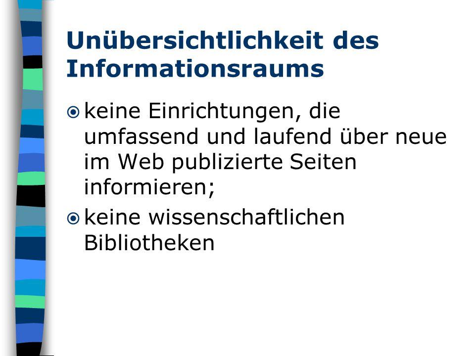 Unübersichtlichkeit des Informationsraums  keine Einrichtungen, die umfassend und laufend über neue im Web publizierte Seiten informieren;  keine wissenschaftlichen Bibliotheken