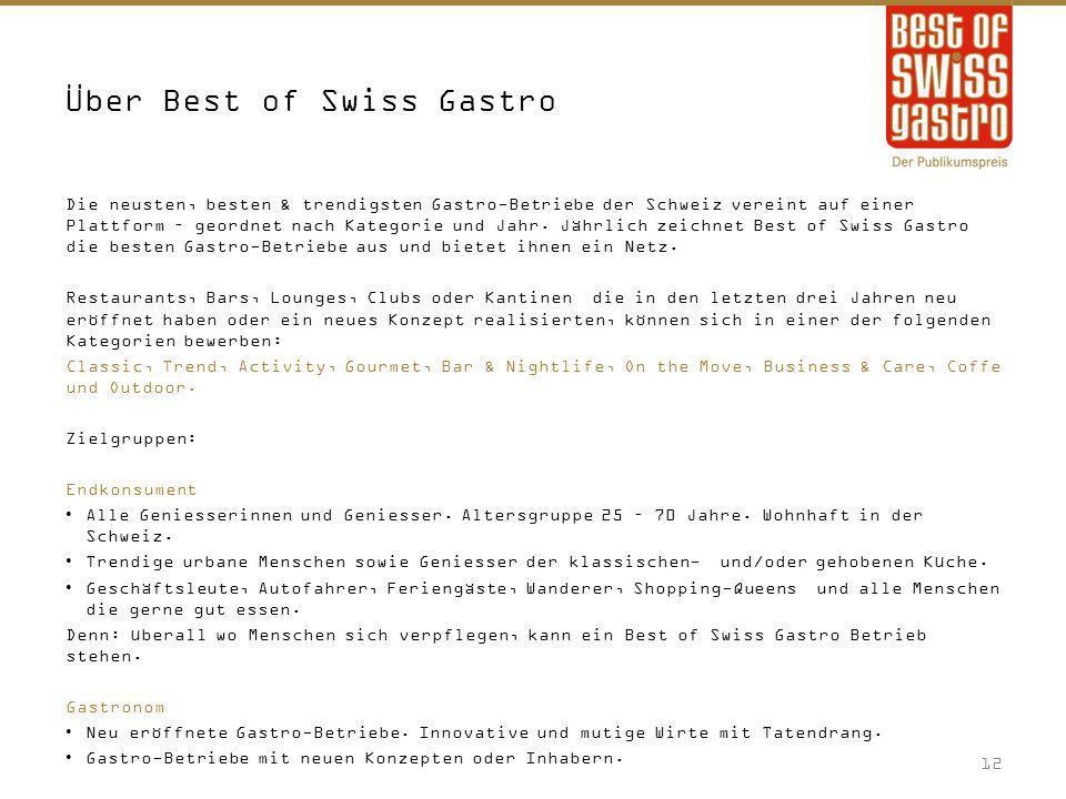 Über Best of Swiss Gastro Die neusten, besten & trendigsten Gastro-Betriebe der Schweiz vereint auf einer Plattform – geordnet nach Kategorie und Jahr