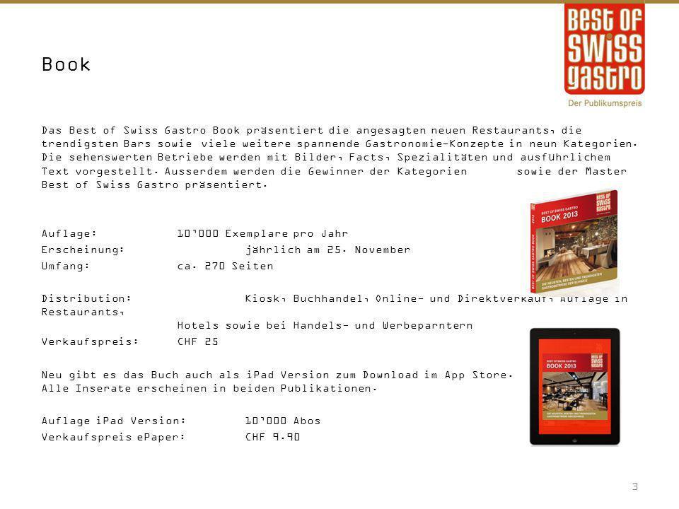 Kontakt Ein Projekt der KIS-COM AG Best of Swiss Gastro Georg Twerenbold Aargauerstrasse 1 8048 Zürich Telefon 044 400 50 29 Fax044 400 50 23 mail@gastroawards.ch www.gastroawards.ch 14