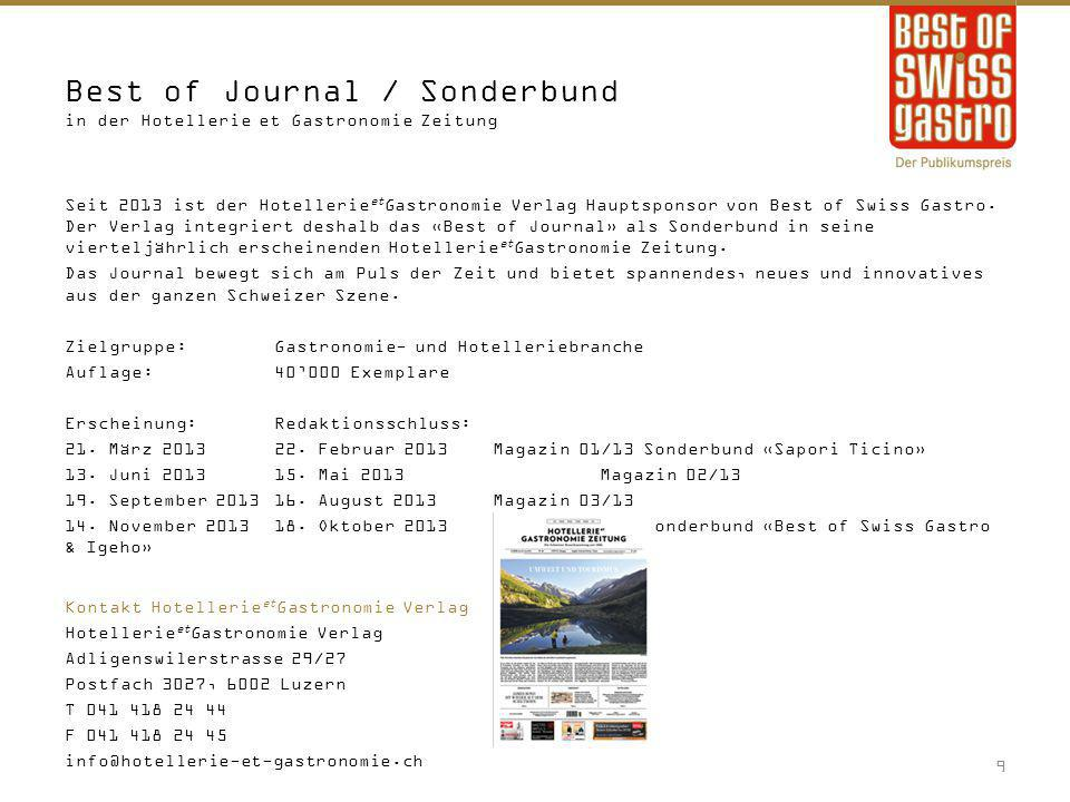 Best of Journal / Sonderbund in der Hotellerie et Gastronomie Zeitung Seit 2013 ist der Hotellerie et Gastronomie Verlag Hauptsponsor von Best of Swis