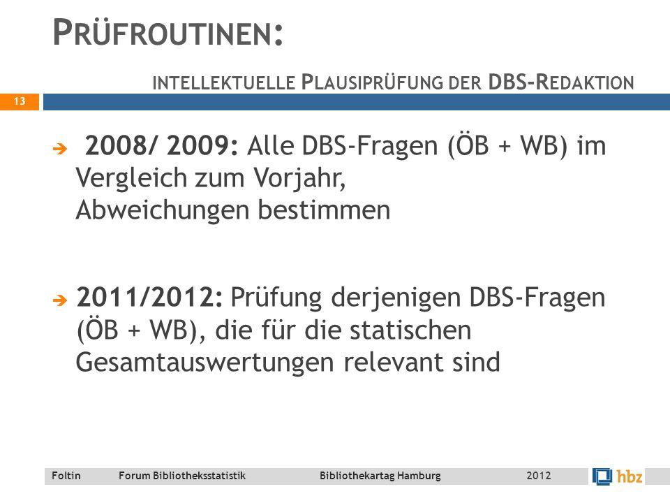 Foltin Forum Bibliotheksstatistik Bibliothekartag Hamburg P RÜFROUTINEN : INTELLEKTUELLE P LAUSIPRÜFUNG DER DBS-R EDAKTION  2008/ 2009: Alle DBS-Fragen (ÖB + WB) im Vergleich zum Vorjahr, Abweichungen bestimmen  2011/2012: Prüfung derjenigen DBS-Fragen (ÖB + WB), die für die statischen Gesamtauswertungen relevant sind 13 2012