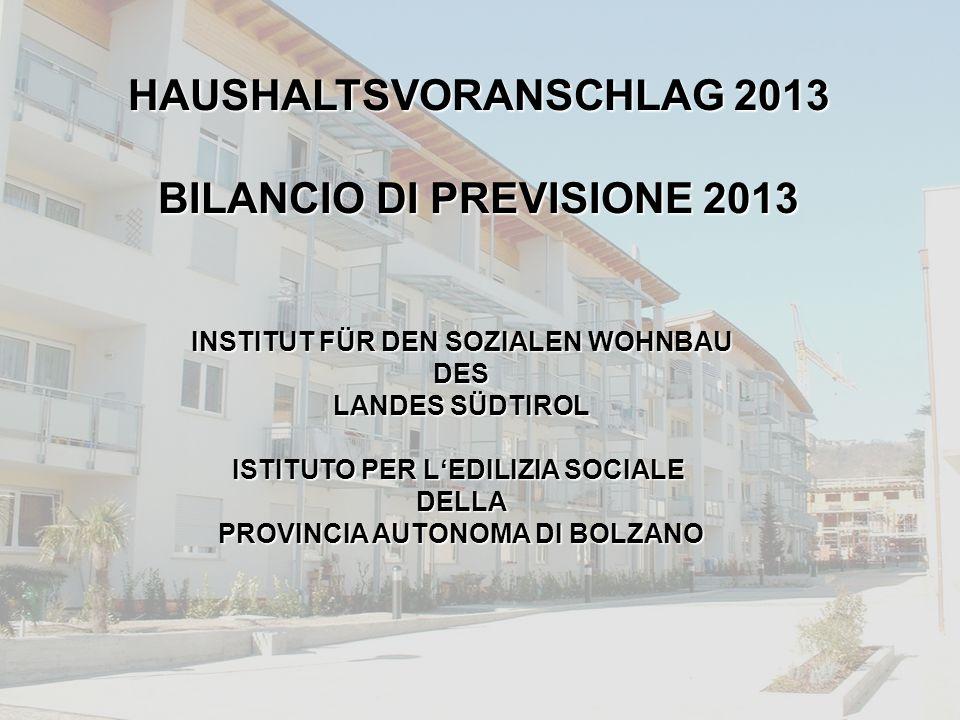 INSTITUT FÜR DEN SOZIALEN WOHNBAU DES LANDES SÜDTIROL ISTITUTO PER L'EDILIZIA SOCIALE DELLA PROVINCIA AUTONOMA DI BOLZANO HAUSHALTSVORANSCHLAG 2013 BILANCIO DI PREVISIONE 2013