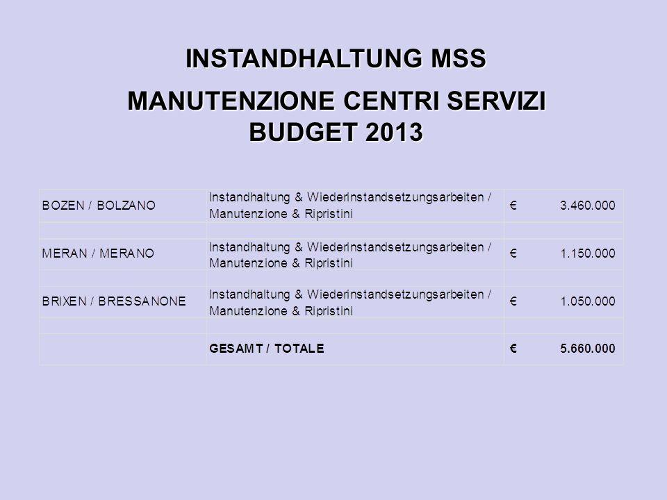 INSTANDHALTUNG MSS MANUTENZIONE CENTRI SERVIZI BUDGET 2013