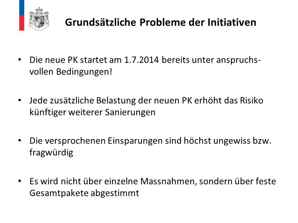 Die neue PK startet am 1.7.2014 bereits unter anspruchs- vollen Bedingungen! Jede zusätzliche Belastung der neuen PK erhöht das Risiko künftiger weite