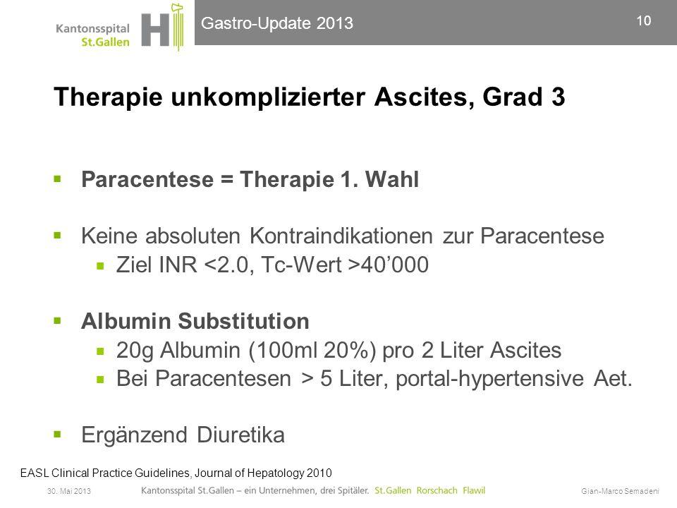Gastro-Update 2013 Therapie unkomplizierter Ascites, Grad 3  Paracentese = Therapie 1. Wahl  Keine absoluten Kontraindikationen zur Paracentese  Zi